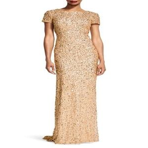 Adrianna Papell beaded gown Champagne